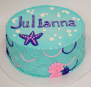 MaArthur's Bakery Custom Cake with Aqua Icing, Mermaid Scales, Starfish and Bubbles