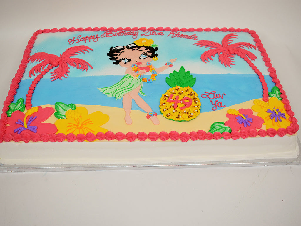 McArthur's Bakery Custom Cake with Betty Boop Hulu Dancing On The Beach.
