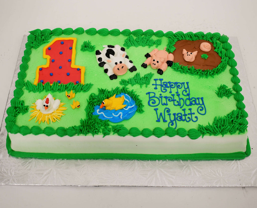 MaArthur's Bakery Custom Cake with Number 1, Farm Animals, Green Background