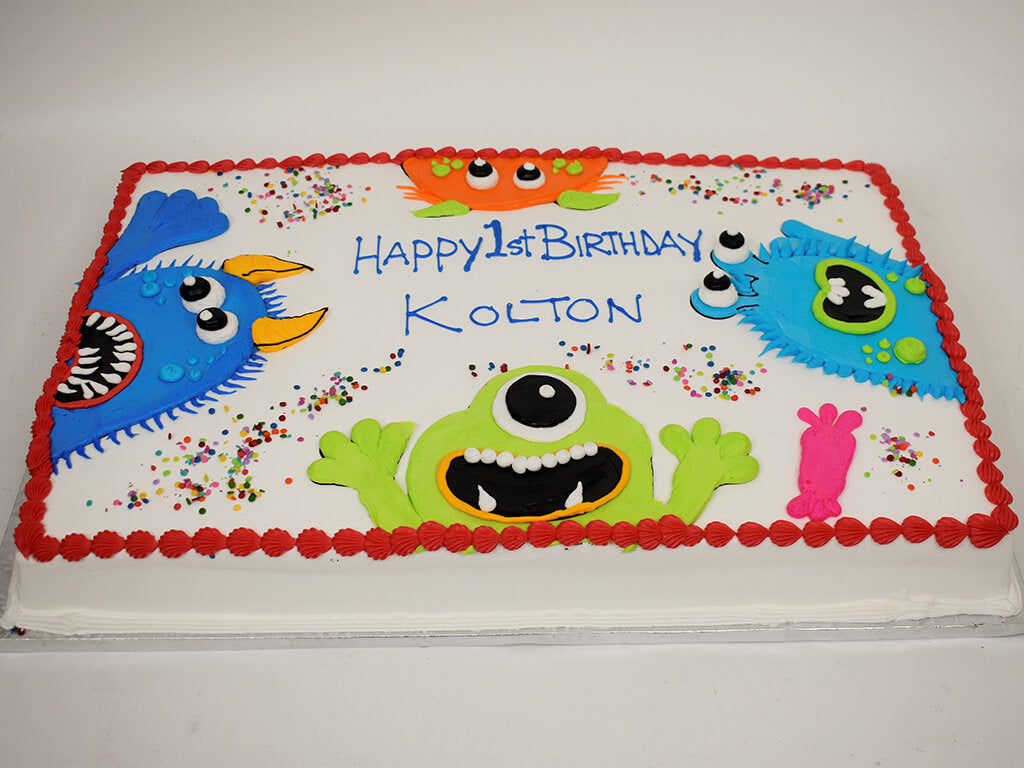McArthur's Bakery Custom Cake with Fun Crazy Monsters Cheering