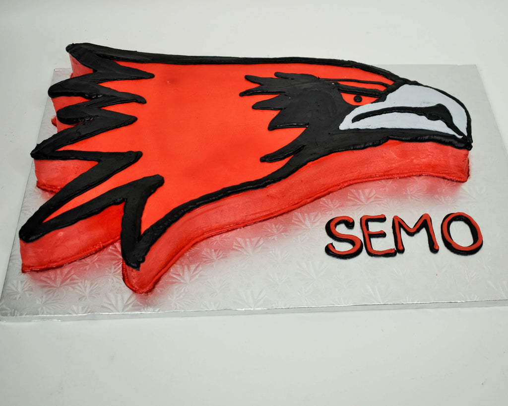 McArthur's Bakery Custom Cake with a SEMO Red Hawk Cut Out