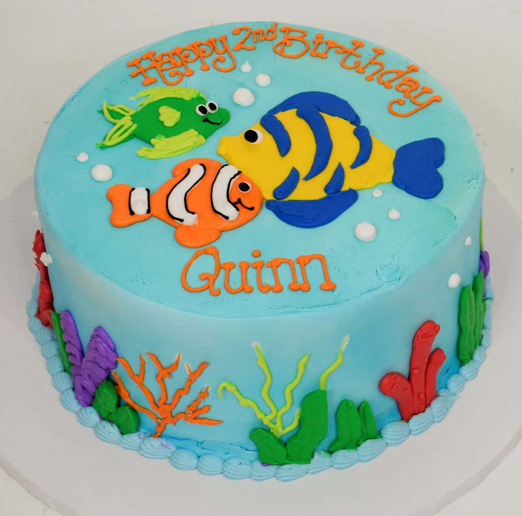 MaArthur's Bakery Custom Cake with Fish, Coral, Plants, Blue Background