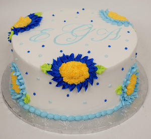 MaArthur's Bakery Custom Cake with Sunflowers, Dark Blue, Light blue