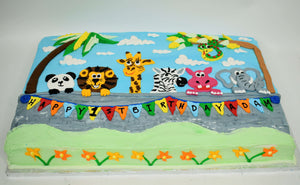 McArthur's Bakery Custom Cake with wild Animals, Palm Trees, Happy Birthday Banner