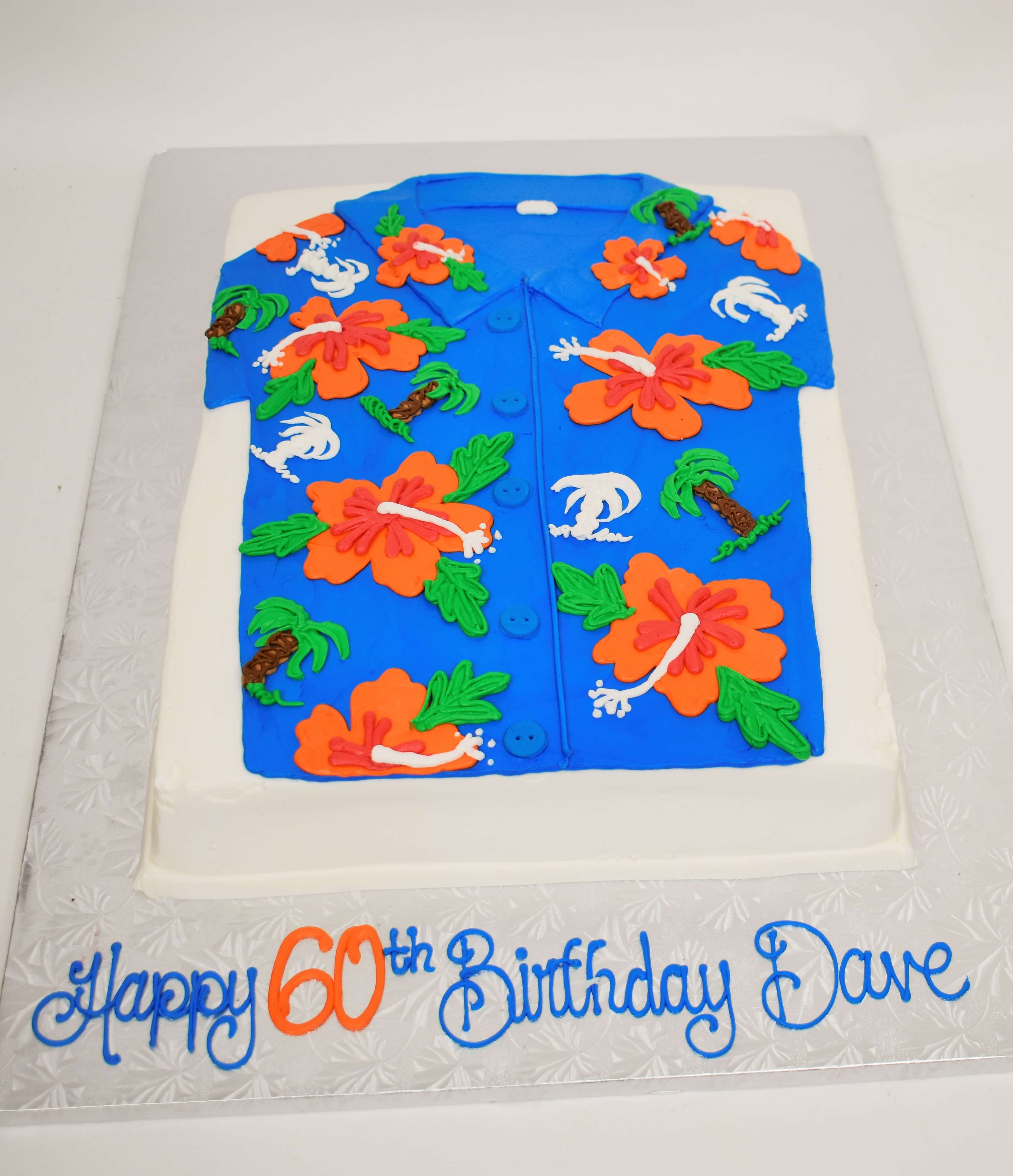 McArthur's Bakery Custom Cake with Hawaiian Shirt, Blue Shirt, Orange Flowers, White Palm Trees