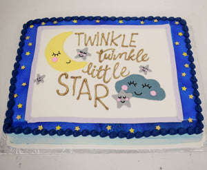 McArthur's Bakery Custom Cake with Moon, Stars, Clouds