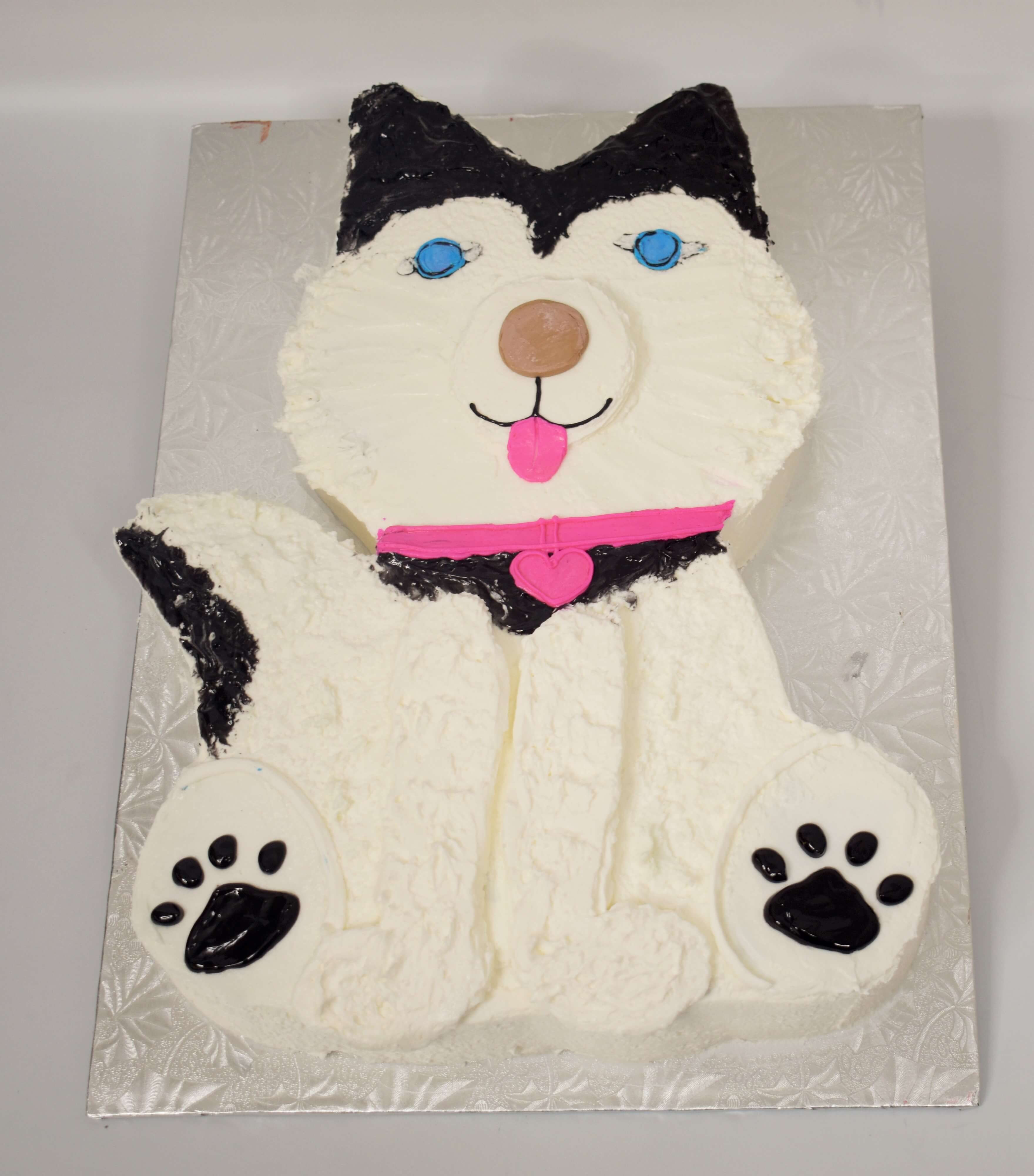 MaArthur's Bakery Custom Cake with Cutout Husky Dog,  White and Black