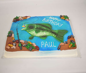 MaArthur's Bakery Custom Cake with Fish, Fishing Pole, Water, Rocks