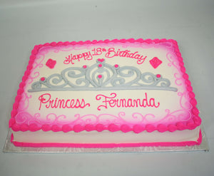 MaArthur's Bakery Custom Cake with Tiara, Silver, Pink.