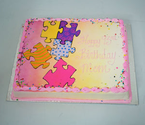 MaArthur's Bakery Custom Cake with Puzzle Pieces, Purpl, Pink, Confetti Sprinkles