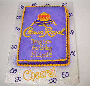 MaArthur's Bakery Custom Cake with Crown Royal, Purlple, Crown.