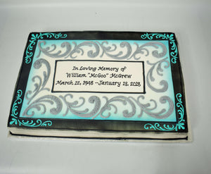 MaArthur's Bakery Custom Cake with Silver Scrolling, Teal Scrolling, Black Border, Plaque