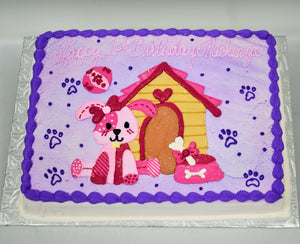 McArthur's Bakery Custom Cake with Dog, Patches, House, Paws, Dog Bowl, Purple, Pink