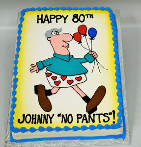 MaArthur's Bakery Custom Cake with Heart Boxers, Balloons, Older Man
