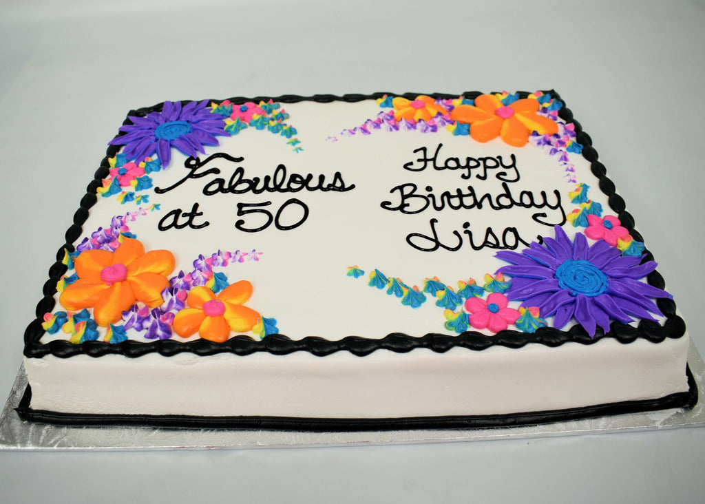 MaArthur's Bakery Custom Cake with Fabulous at 50, Assorted Flowers