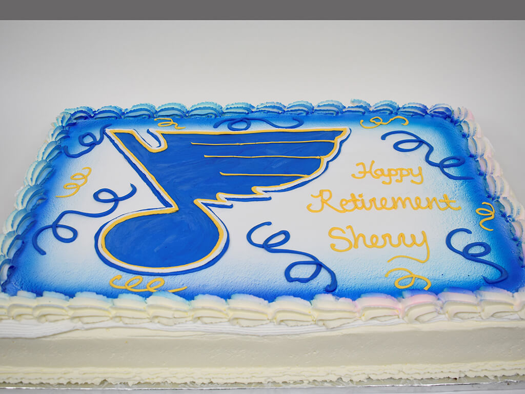 McArthur's Bakery Custom Cake with St. Louis Blues Hockey Team Logo of Blue Note