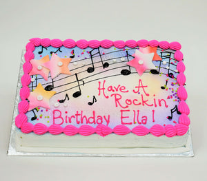 MaArthur's Bakery Custom Cake with Musical Notes, Stars, Pink, Purple