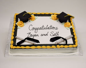 MaArthur's Bakery Custom Cake with Golden Yellow, Black, Graduation Cap, Scroll, Roses