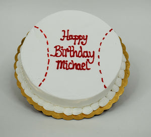 McArthur's Bakery Custom Cake with Baseball Stiching, White, Red