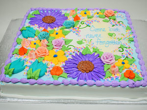 McaRthur's Bakery Custom Cake with Spring and Summer Flowers