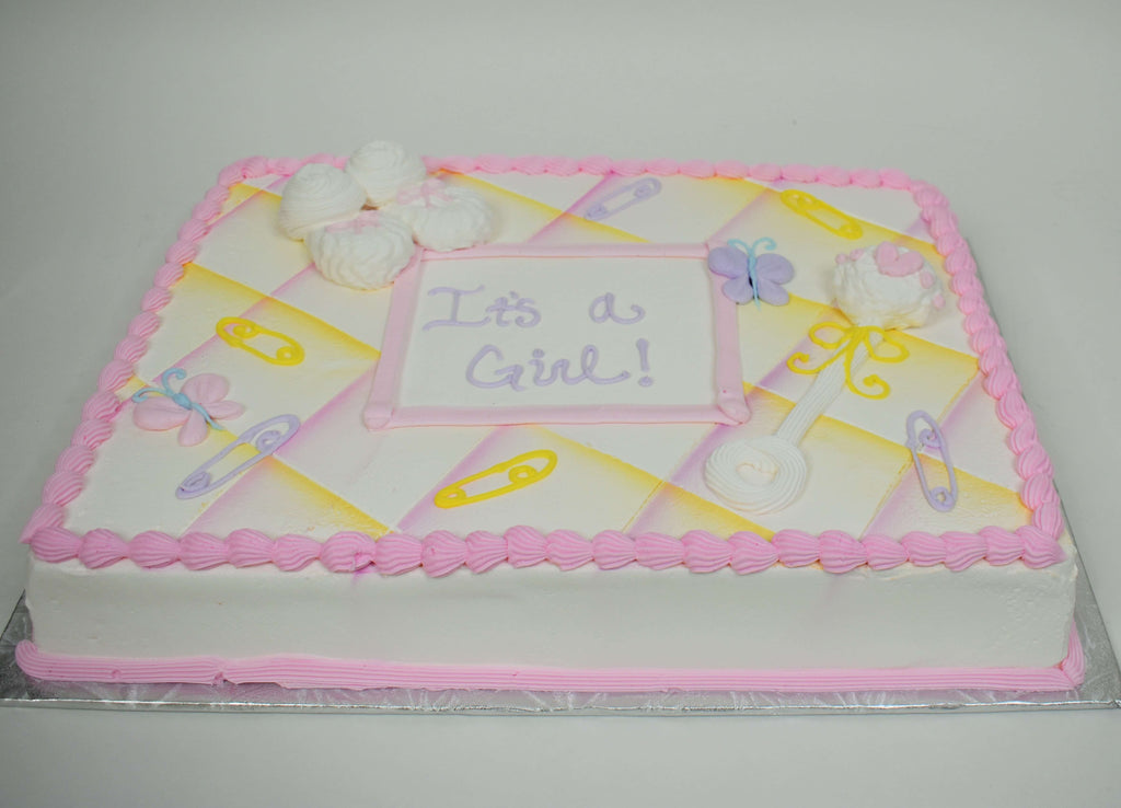 MaArthur's Bakery Custom Cake with Butterflys, Booties, Rattle, and Baby Pins,  Purple and Pink
