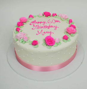 MaArthur's Bakery Custom Cake with Border of Roses, Polka dots, Pink Fabric Trim