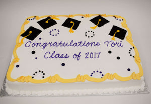 McArthur's Bakery Custom Yellow and Black Graduation Cake