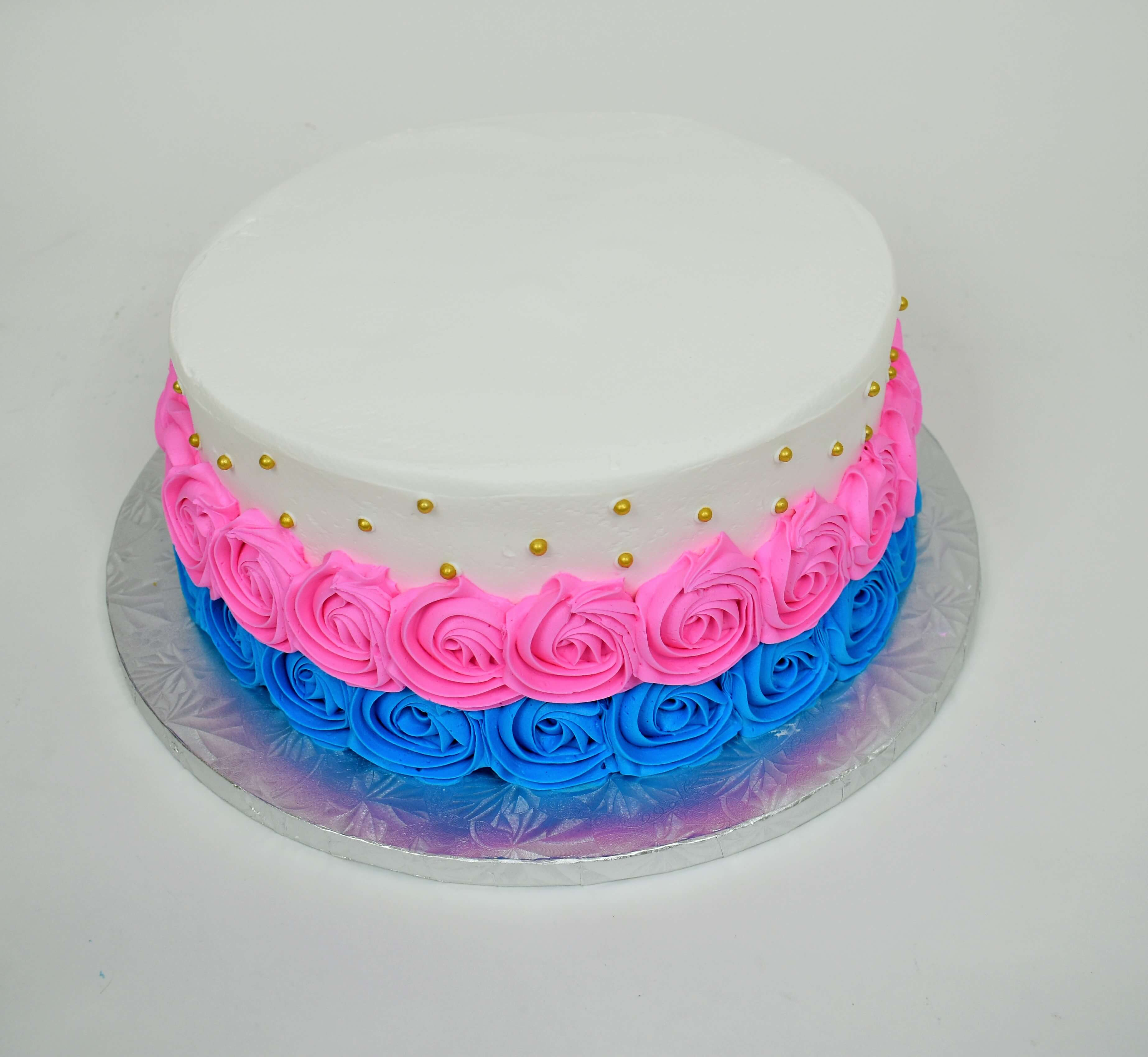McArthur's Bakery Custom Cake with Pink and Blue Rosettes