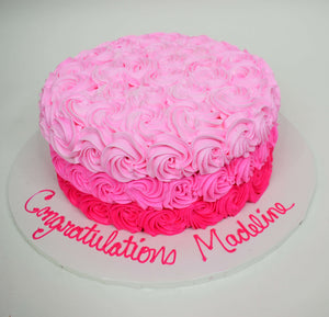 McArthur's Bakery Custom Cake with Three Shades of Pink Rosettes, ombre,