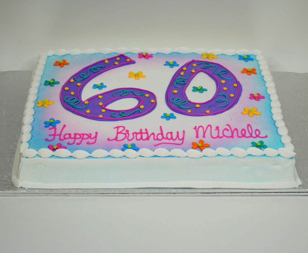 MaArthur's Bakery Custom Cake with Large number 60.  Flowers, Swirls, Polka Dots