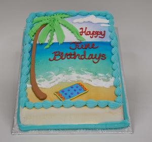 McArthur's Bakery Custom Cake with Palm Tree, Ocean, Beach and Towel.