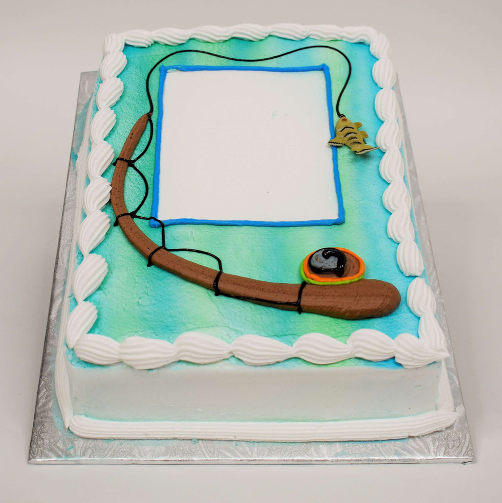 MaArthur's Bakery Custom Cake with Fishing Reel, Bait