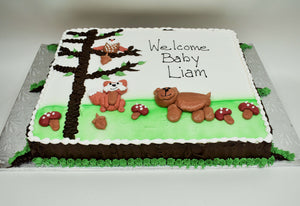 MaArthur's Bakery Custom Cake with Raccoon, Owl, Bear, Mushrooms, Tree