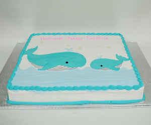 McArthur's Bakery Custom Cake with Mother Whale, Baby Whale, Ocean, Water
