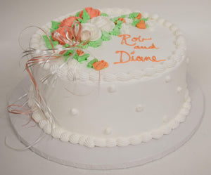 McArthur's Bakery Custom Cake With White, Orange, Roses, Ribbons