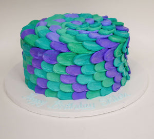 MaArthur's Bakery Custom Cake with Purple, Turquoise, Teal, Scales