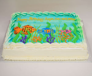MaArthur's Bakery Custom Cake with Underwater Scene, Plants, and Fish