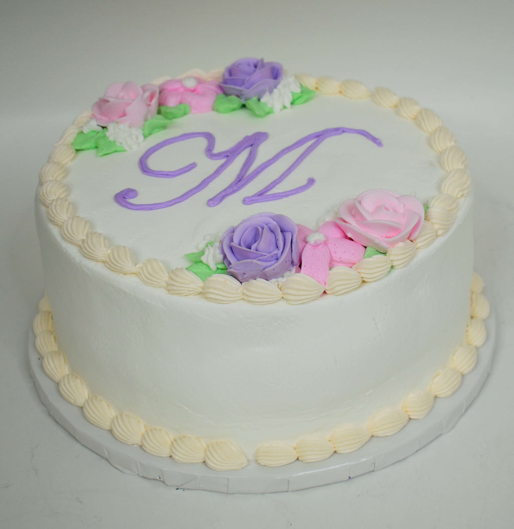 McArthur's Bakery Custom Cake with Inital, Roses, Pink, Purple