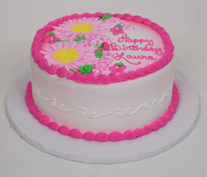 McArthur's Bakery Custom Cake with Large Flowers, Dark Pink, Pink, White Scrolling on Sides