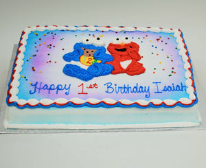 MaArthur's Bakery Custom Cake with Cookie Monster, Elmo, and with Confetti Sprinkles