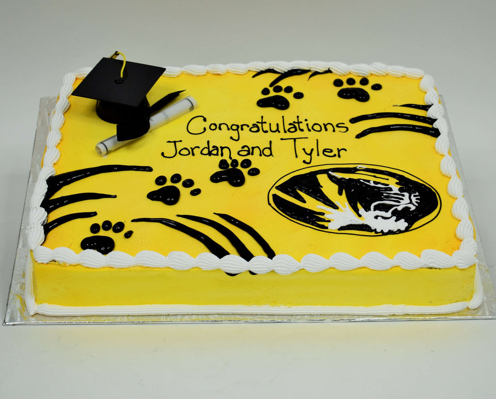 McArthur's Bakery Custom Cake with Cap, Scroll, Mizzou Tiger