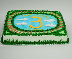 McArthur's Bakery Custom Cake with Train Tracks, Clouds, Sky, Green Grass