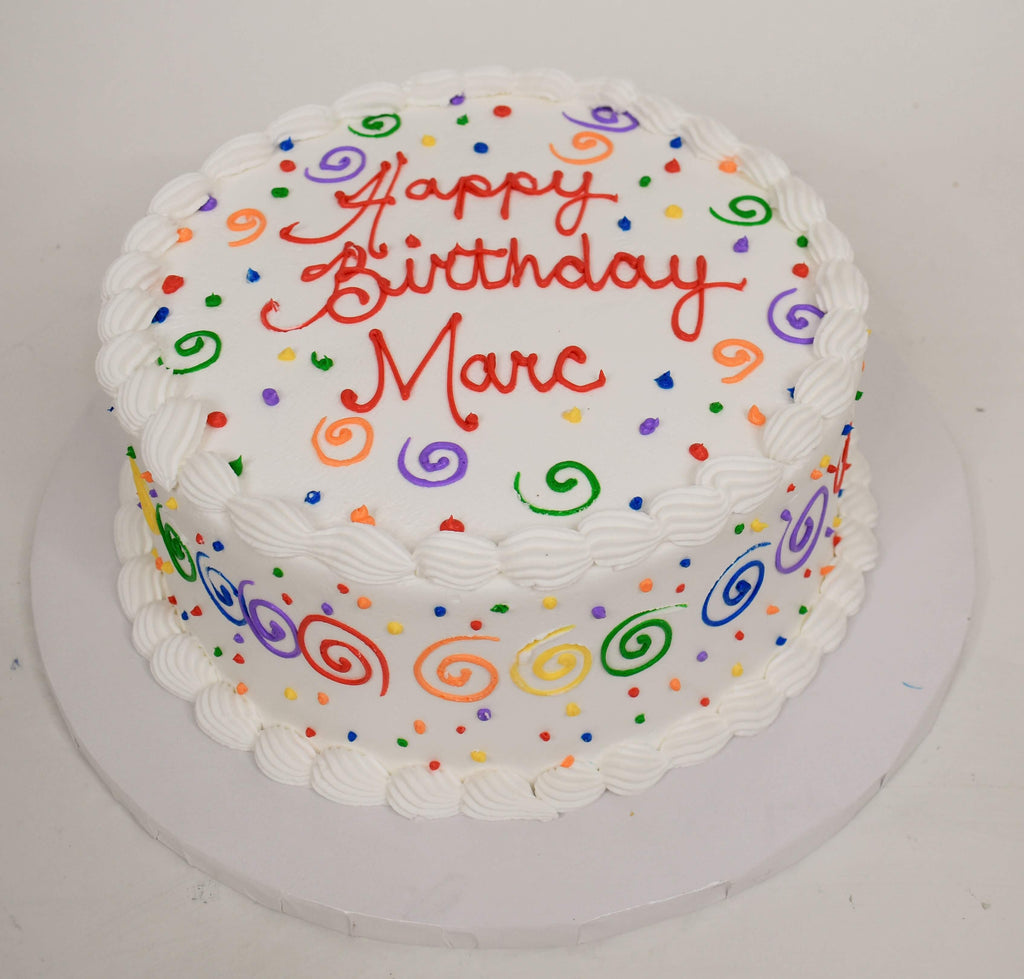 MaArthur's Bakery Custom Cake with Rainbow Swirls and Dots