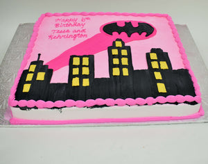 MaArthur's Bakery Custom Cake with Bat Girl, City Scene, Pink, Bat Logo