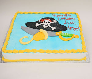 MaArthur's Bakery Custom Cake with Pirate Hat, Skull, Hook, Sword.