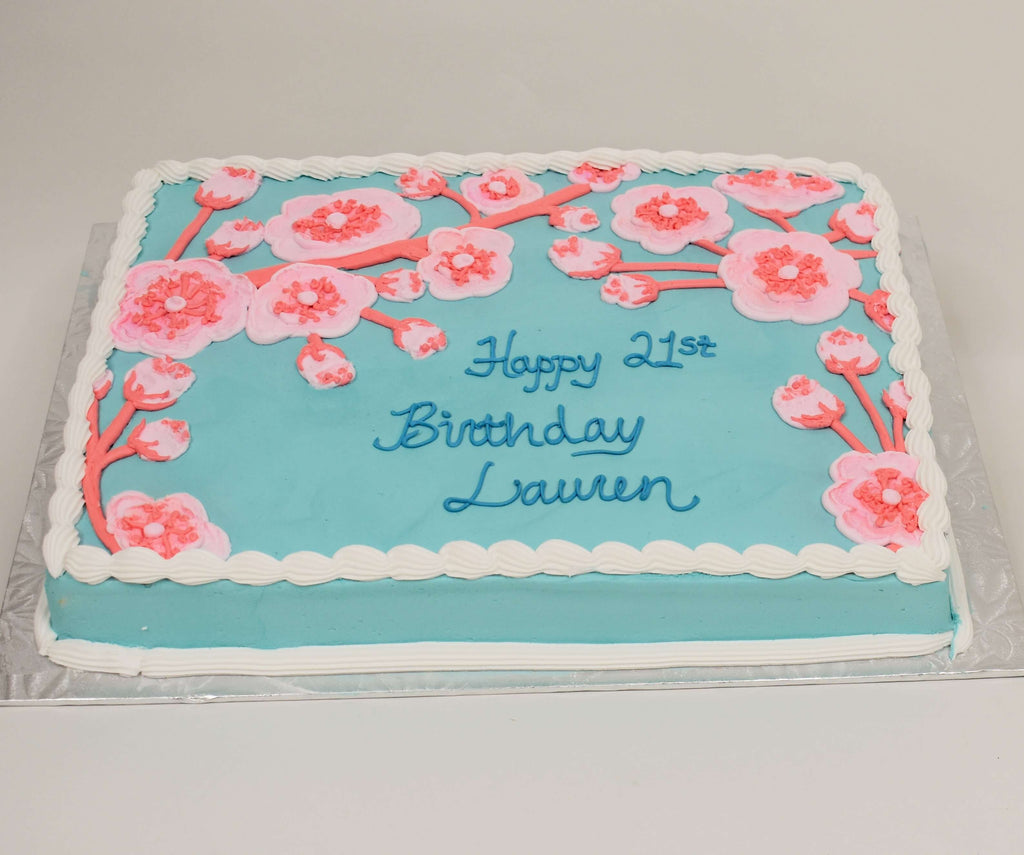 MaArthur's Bakery Custom Cake with Blue Background, Cherry Blossoms