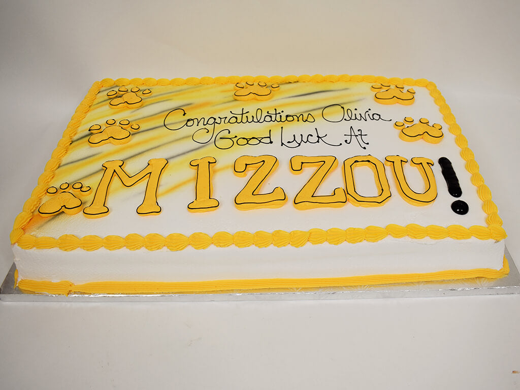 McArthur's Bakery Custom Cake Graduation Cake With Mizzou Paws