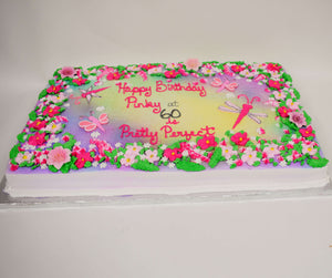 McArthur's Bakery Custom Cake with Bright Assorted Flowers, Dragonflys, Pinks, Greens and Reds