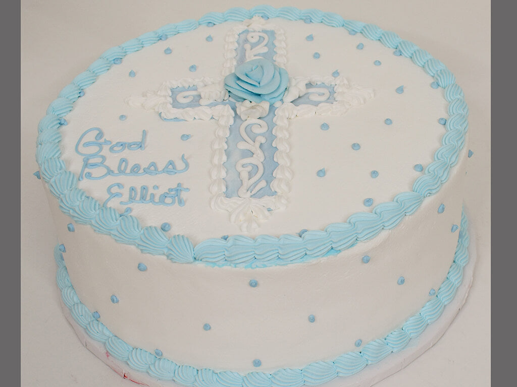 McArthur's Bakery Custom Cake with Religious Theme of Cross and Saying God Bless