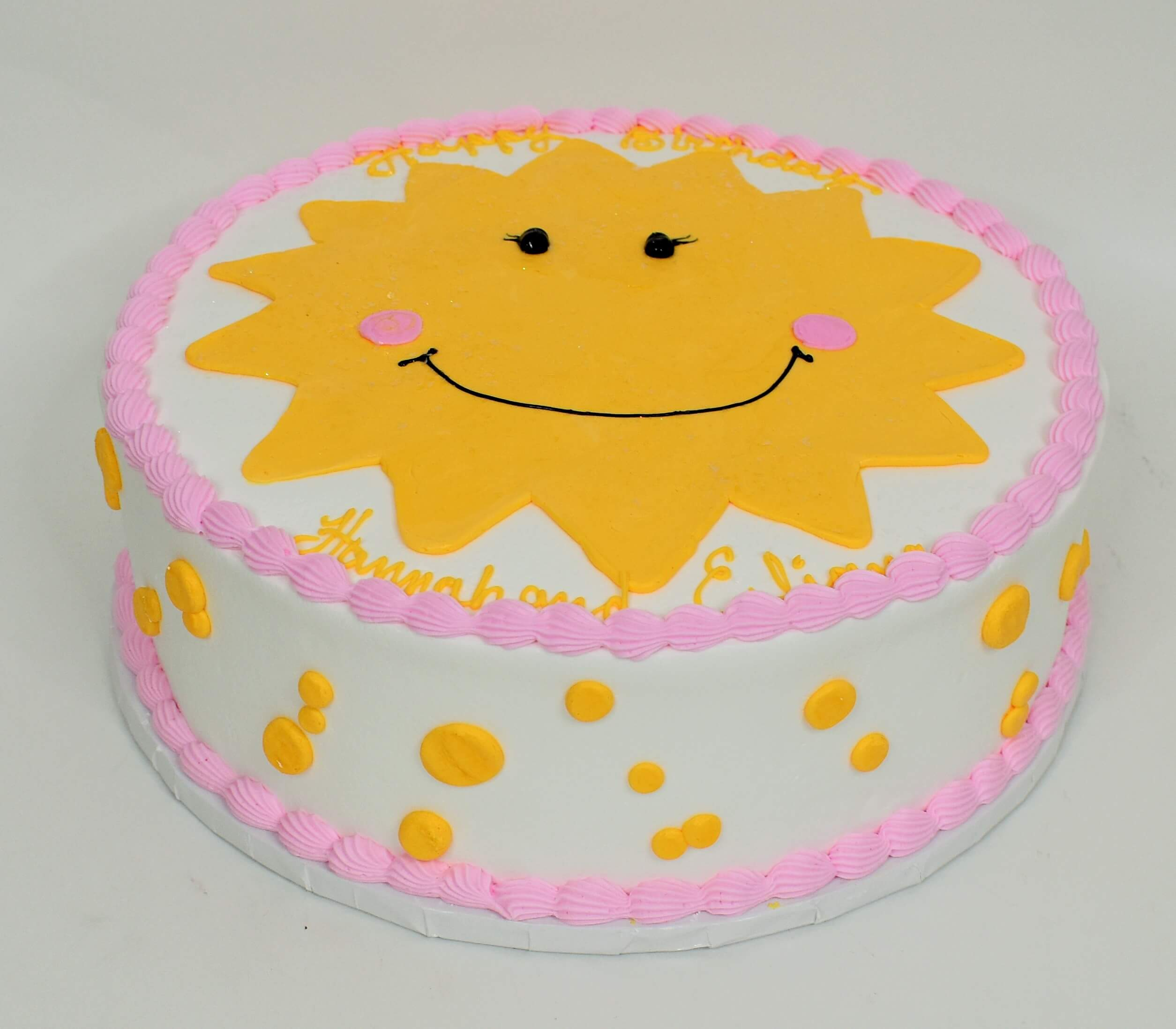 MaArthur's Bakery Custom Cake With Smiling Sunshine, Yellow Polka Dots
